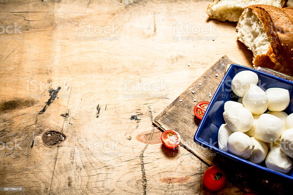 Mozzarella with fresh bread and tomatoes. royalty-free stock photo