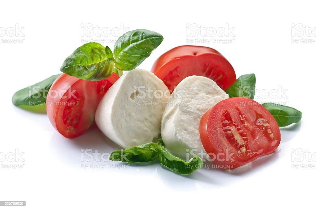mozzarella with tomato and basil isolated on white stock photo