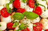 Mozzarella with tomato, basil and rucola - full frame