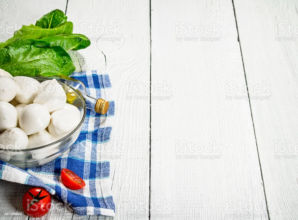 Mozzarella with tomatoes and herbs . Lizenzfreies stock-foto