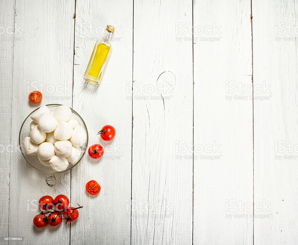 Mozzarella with tomatoes and olive oil. royalty-free stock photo