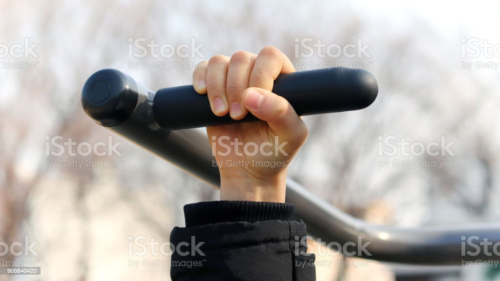 mportance of winter health care. Sports equipment in the park stock photo