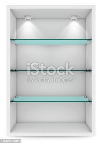Empty white showcase with glass shelves for exhibition. islolated on white with clipping path. 3d rendering