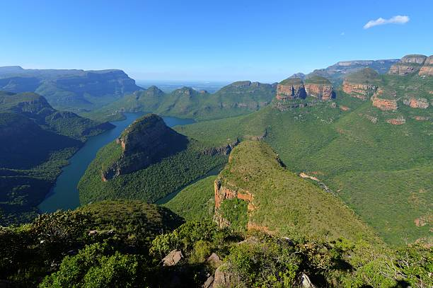 Mpumalanga, Blyde River Canyon The Three Rondavels (Three Sisters) in the Blyde River Canyon. South Africa, Mpumalanga, Summer Scenics. transvaal province stock pictures, royalty-free photos & images