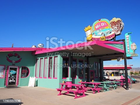 On the mythic route 66, tourists can stop to rest in the vintage diner Mr D'z in Kingman in Arizon in July 2019