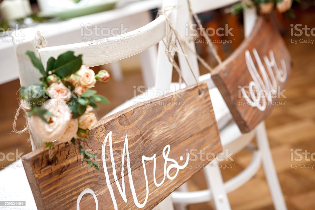 Mr. & Mrs. Sign stock photo