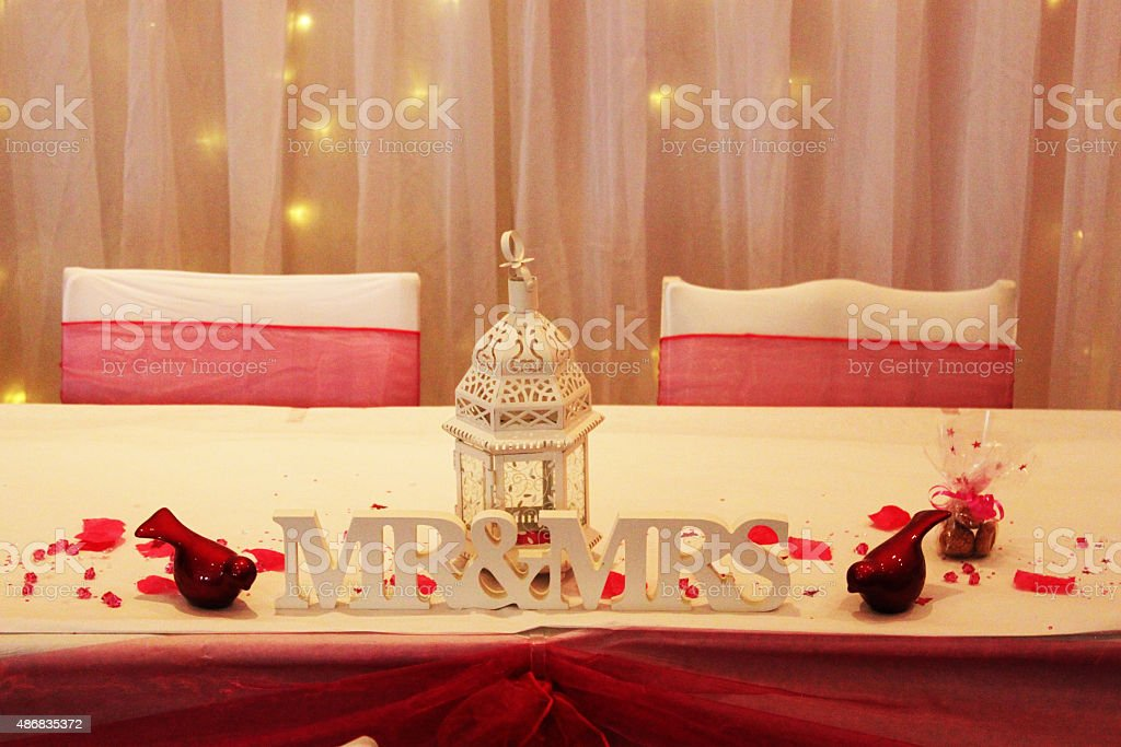 Wedding Mr And Mrs Table Decor from media.istockphoto.com