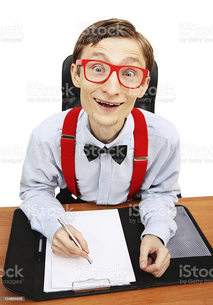 Mr. Nerd in the office royalty-free stock photo