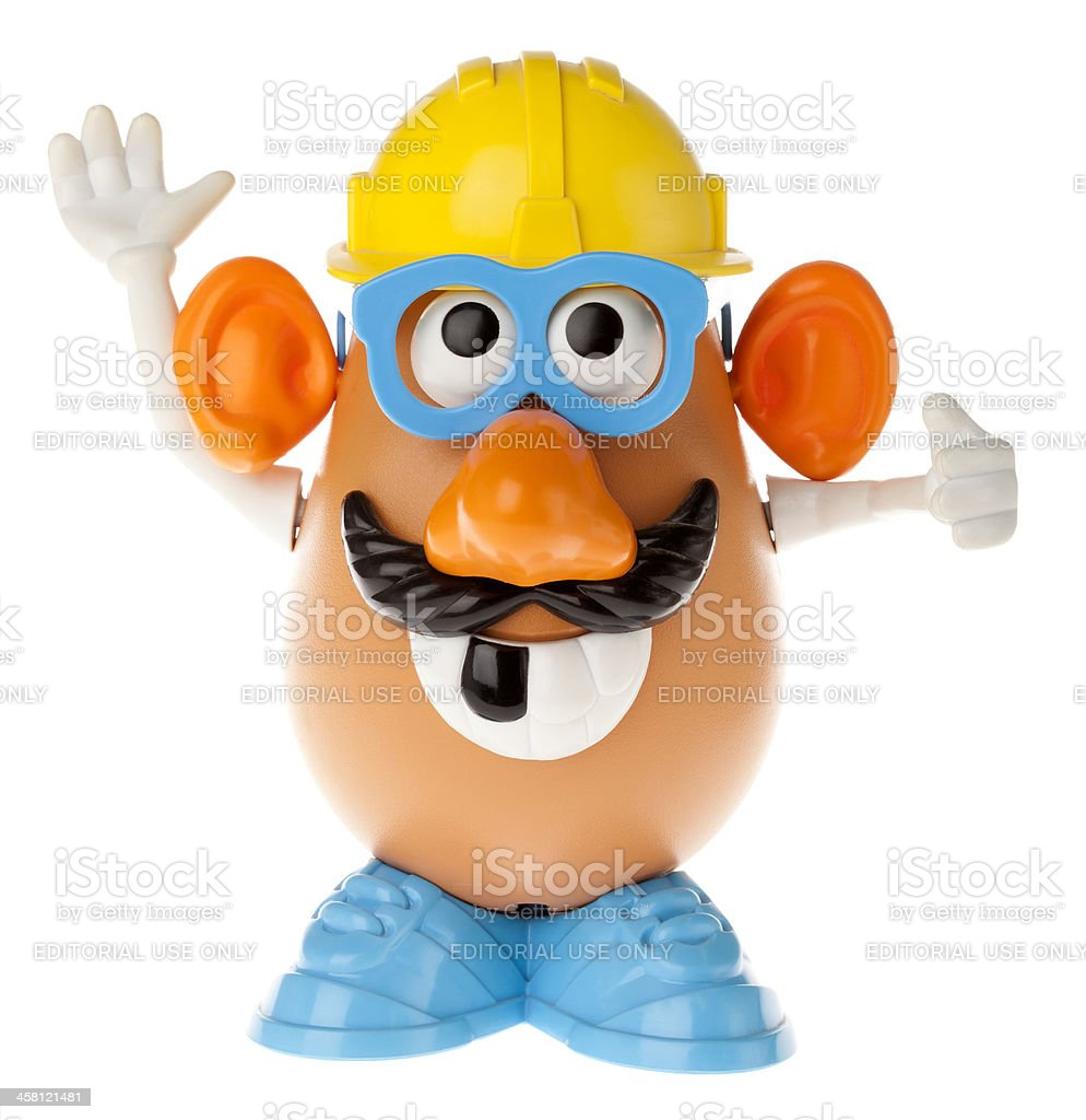 Mr. Potato Head - Construction Worker Looking Up royalty-free stock photo