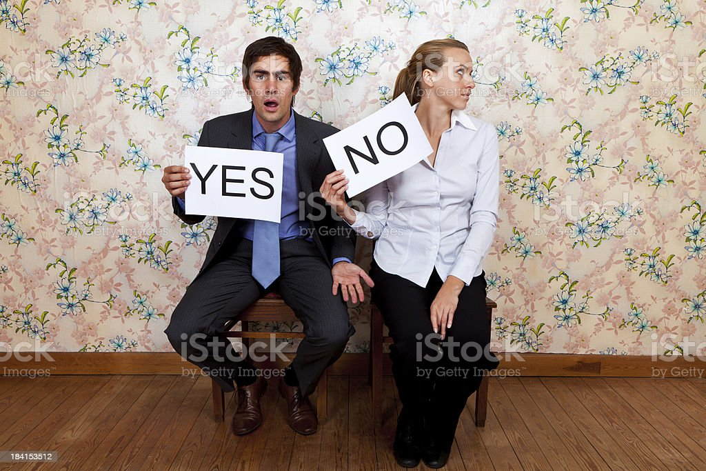 Mr Yes and Miss No stock photo