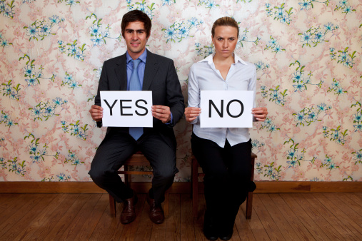 Mr Yes And Miss No Stock Photo - Download Image Now