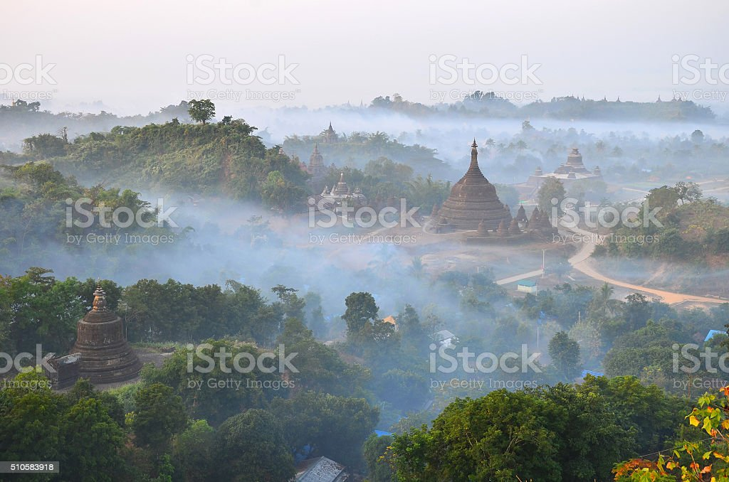 Mrauk U from Shwetaung pagoda stock photo