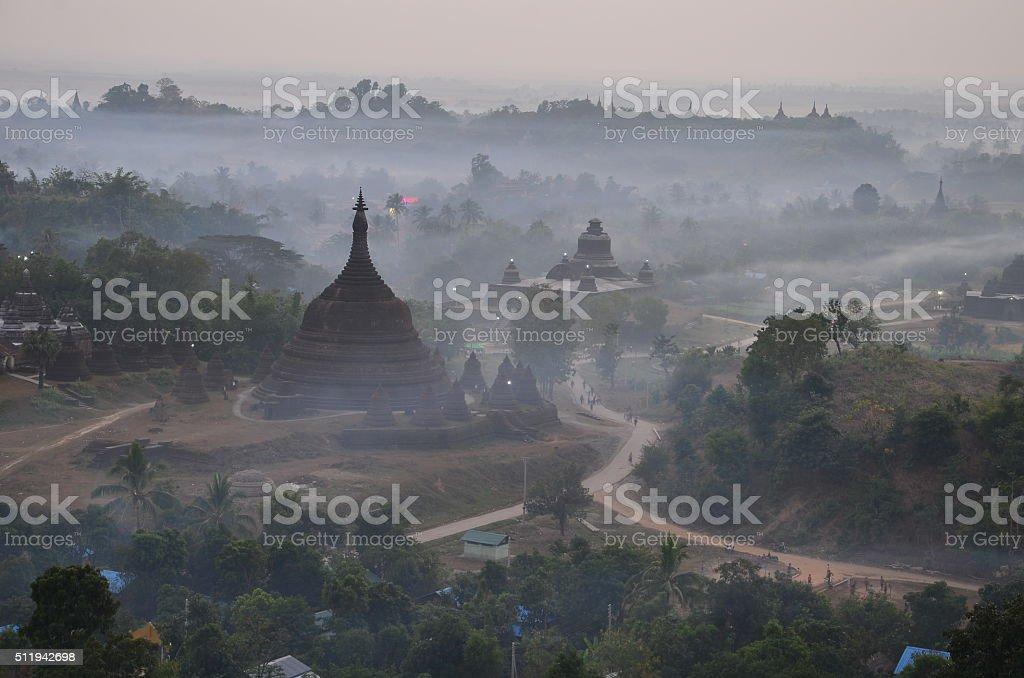 Mrauk U Pagoda in the mist stock photo