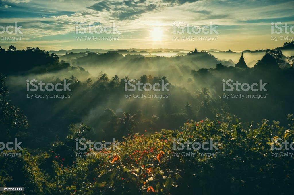 Mrauk U, Sunrise stock photo
