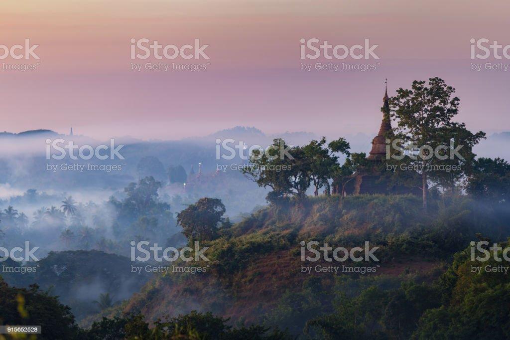 Mrauk-U city in Myanmar stock photo