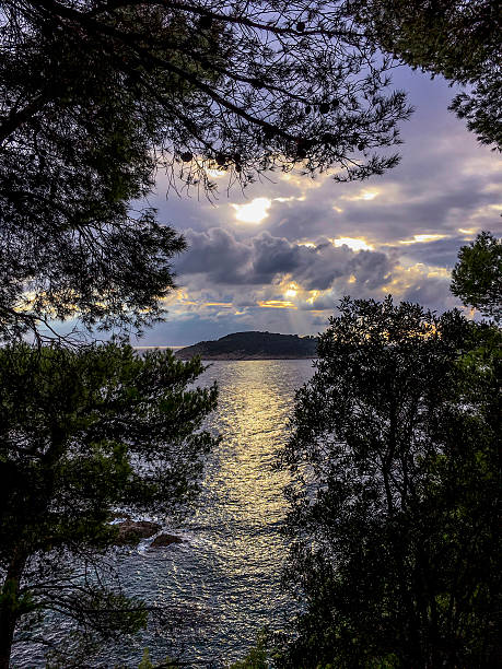 Mrkan Island from Sustjepan Peninsula_Cavtat_Croatia ストックフォト