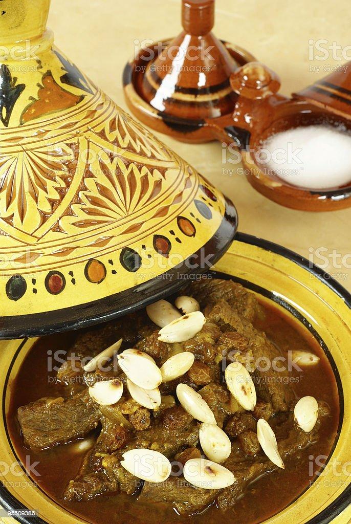 Mrouzia - Moroccan Tagine with Raisins, Almonds and Honey royalty-free stock photo