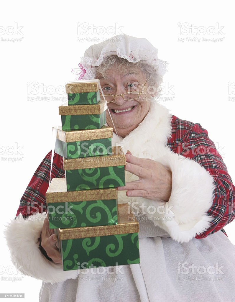 Mrs Claus Presents royalty-free stock photo