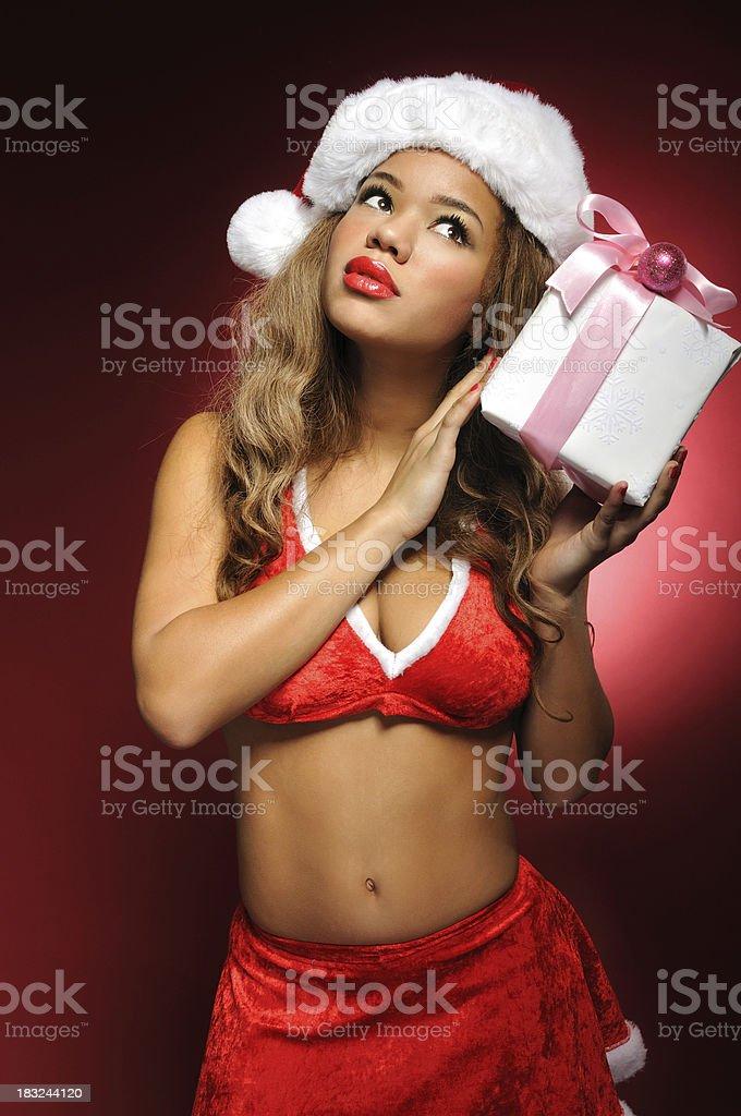 Senhora Deputada Papai Noel com presente - foto de acervo