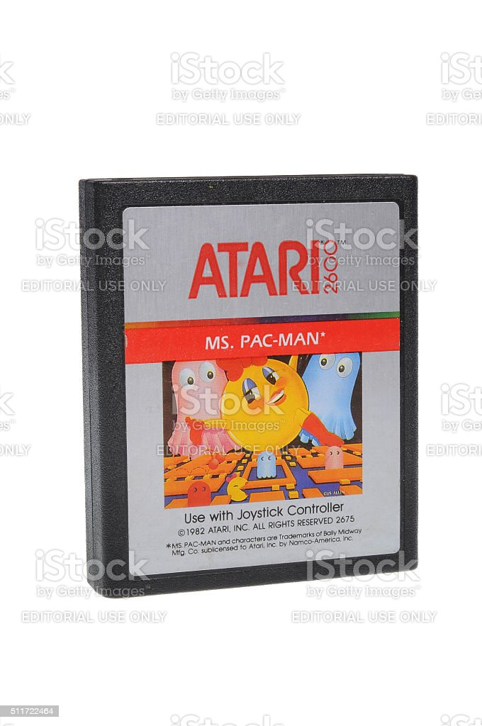 Ms. Pac-Man Atari 2600 Game Cartridge stock photo