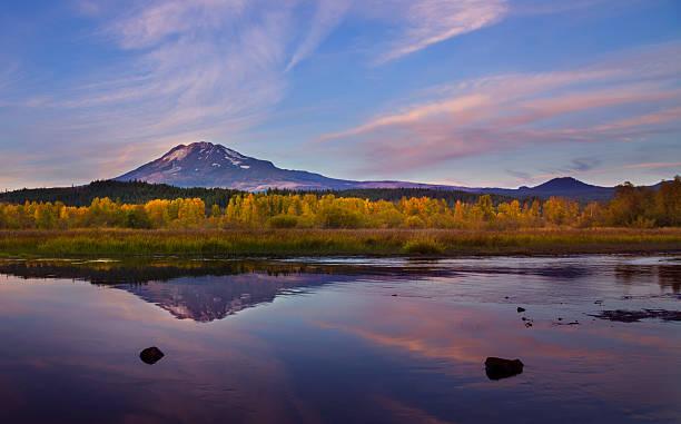 Mt Adams at Dusk stock photo