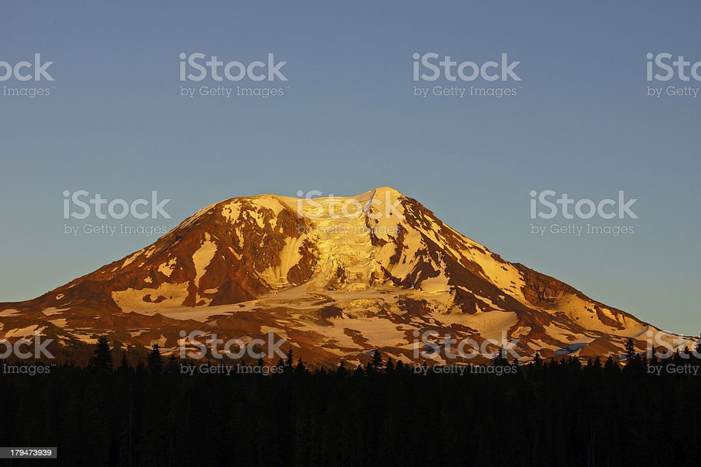 Mt. Adams Fire Sunset royalty-free stock photo