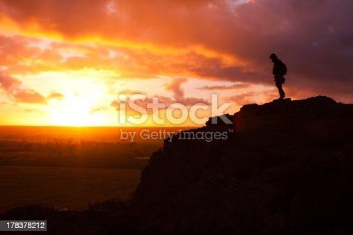 Climber atop Mt Arapiles Sunset