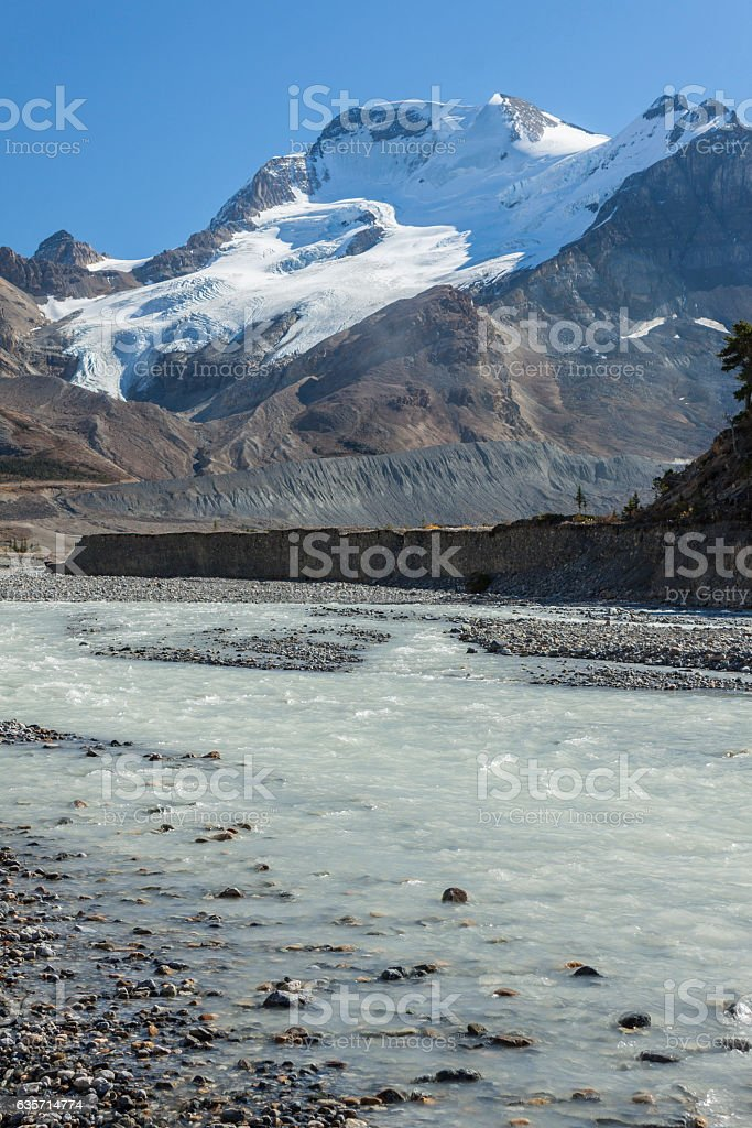 Mt. Athabasca and glaciers of the Colombia Icefield. royalty-free stock photo
