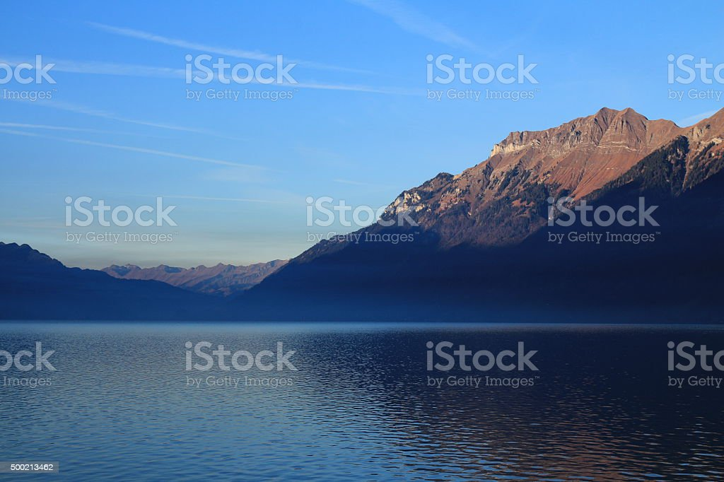 Mt Augstmatthorn at sunrise, view from Brienz stock photo