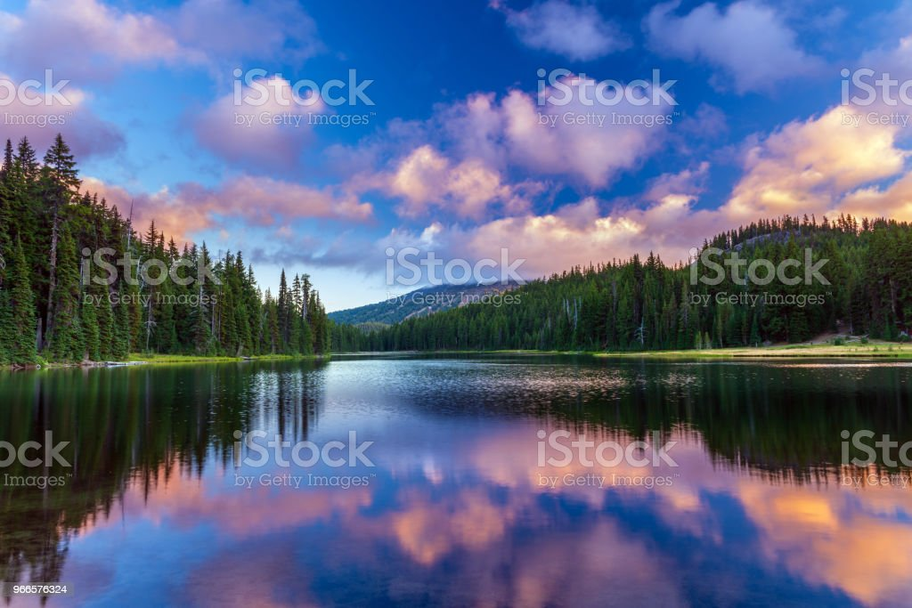 Mt Bachelor reflecting in Todd Lake Bend, Oregon royalty-free stock photo