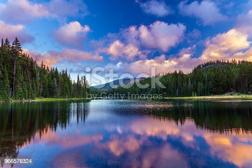 istock Mt Bachelor reflecting in Todd Lake Bend, Oregon 966576324