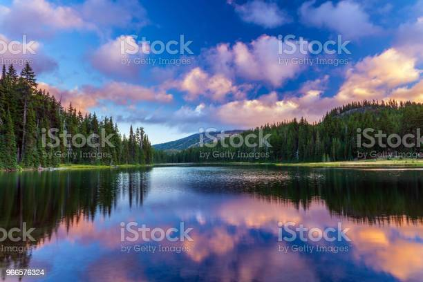 Photo of Mt Bachelor reflecting in Todd Lake Bend, Oregon