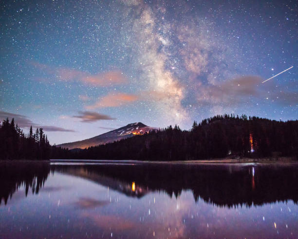 Mt Bachelor reflecting in Todd Lake Bend, Oregon stock photo