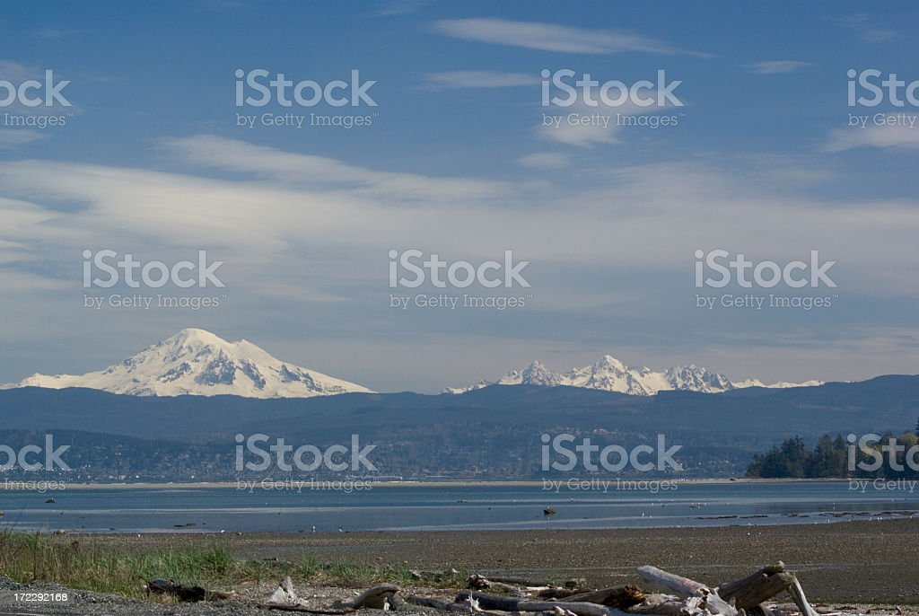 Mt Baker and The Sisters stock photo