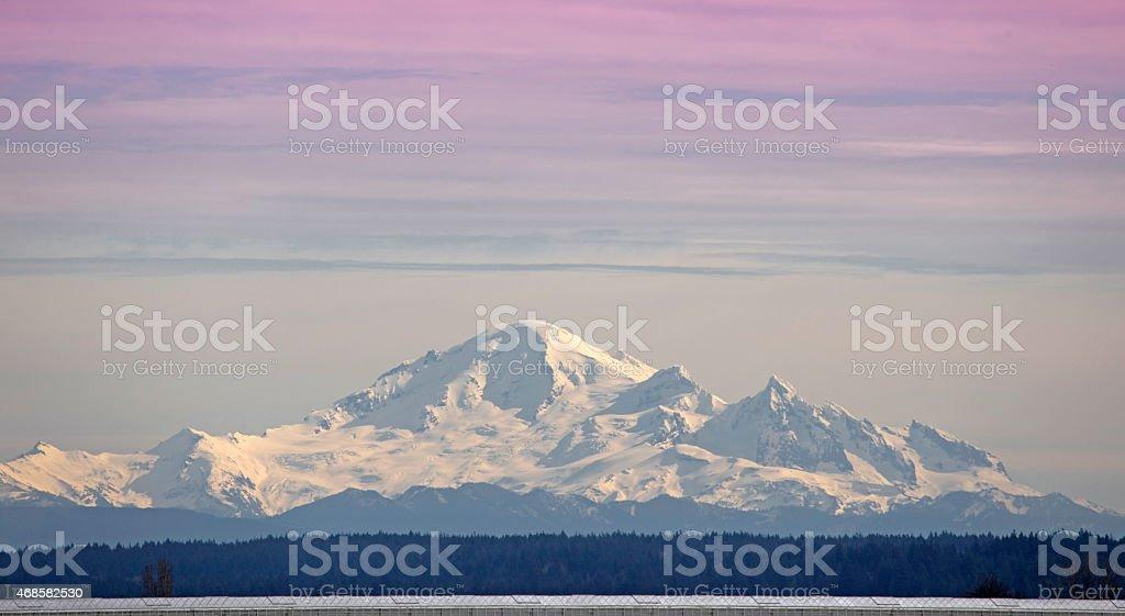 Mt Baker at sunset stock photo