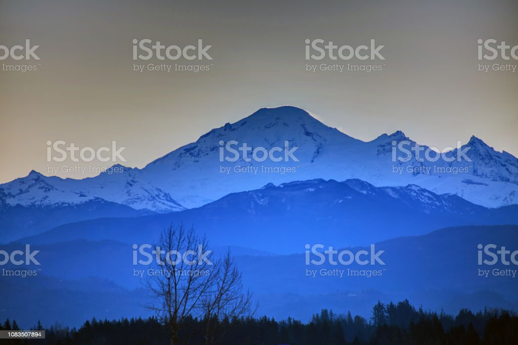 Mt Baker before sunrise stock photo