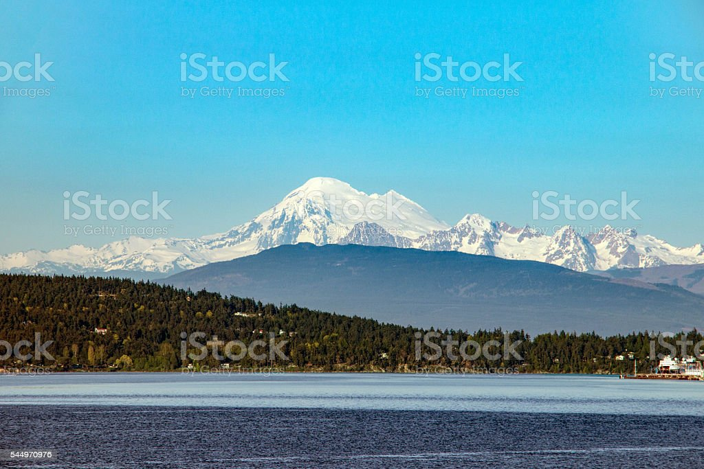Mt. Baker on clear day from Mukilteo stock photo