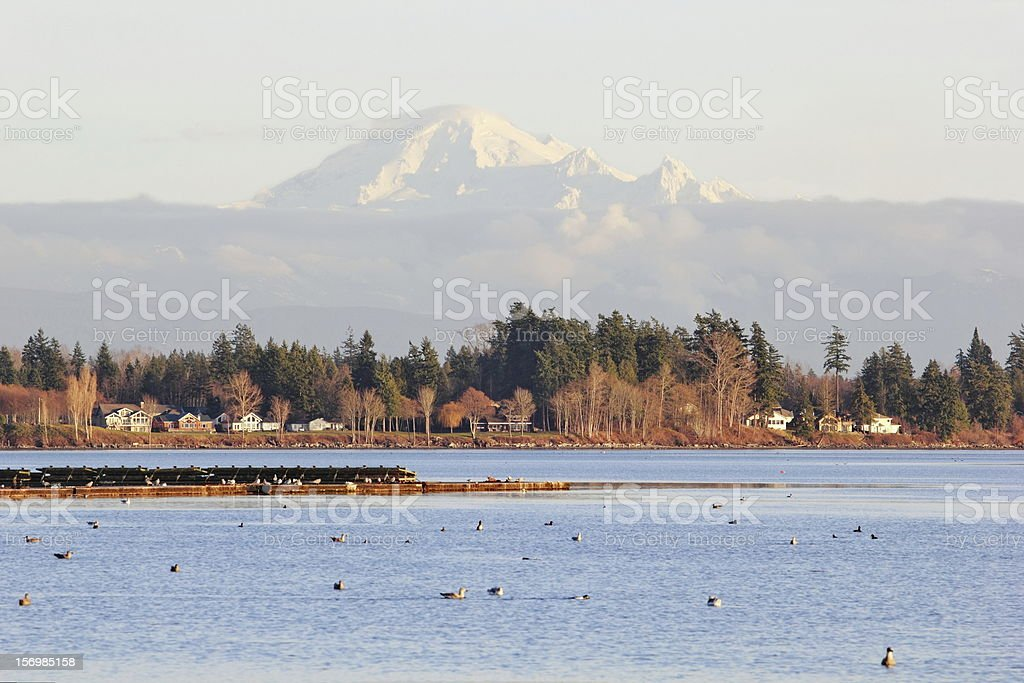 Mt. Baker Peeking Above the Clouds from Across Birchwood Bay stock photo