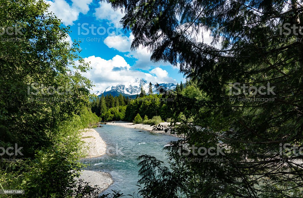 Mt Baker, Washington State, USA Nooksack River Sunny Summer Day stock photo