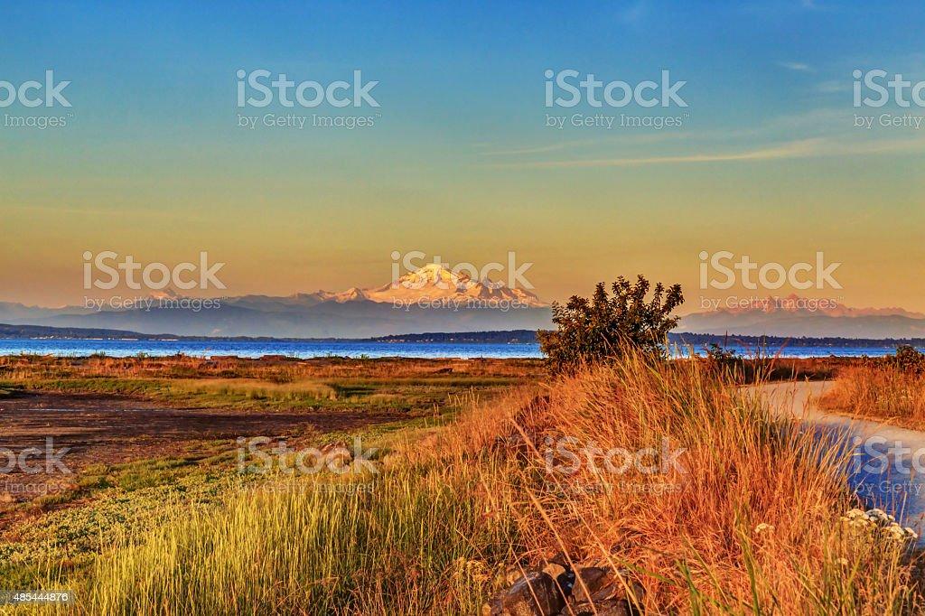 Mt. Baker with Centennial Beach at sunset stock photo