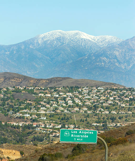 Mt. Baldy Scenic view of homes with Mt. Baldy in the background. mount baldy stock pictures, royalty-free photos & images