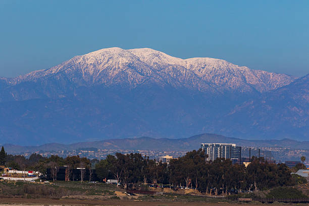 Mt. Baldy A scenic view of Mt. Baldy and Newport Back Bay in Southern California.  mount baldy stock pictures, royalty-free photos & images