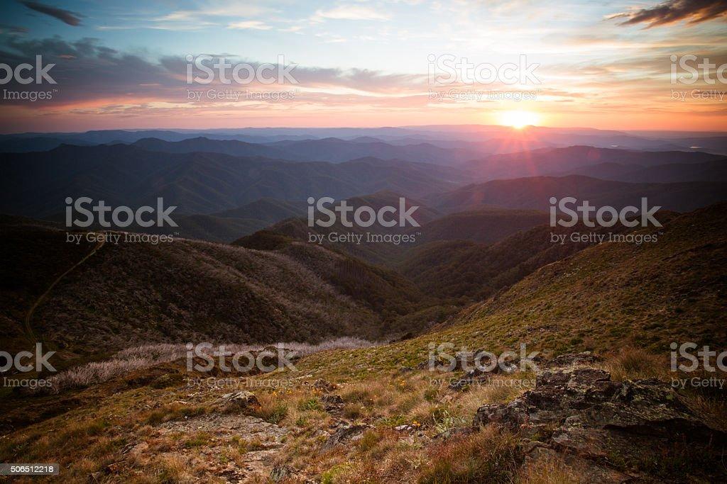 Mt Buller Sunset View stock photo