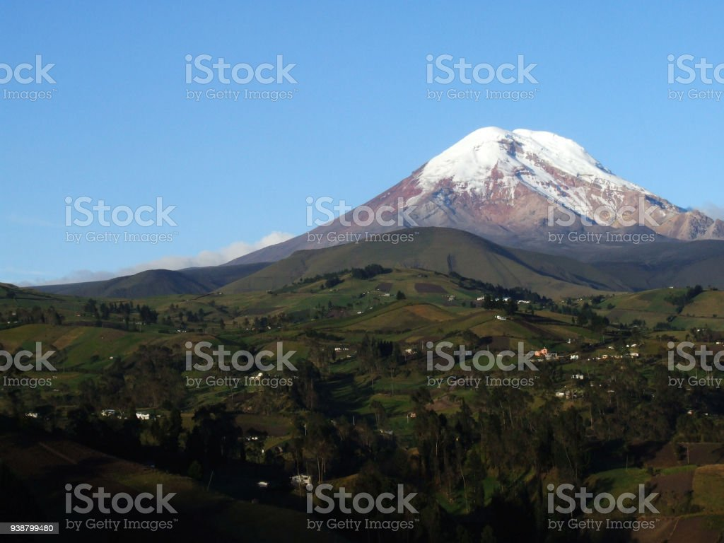 Mt. Chimborazo, highest mountain in Ecuador, seen from Guaranda stock photo
