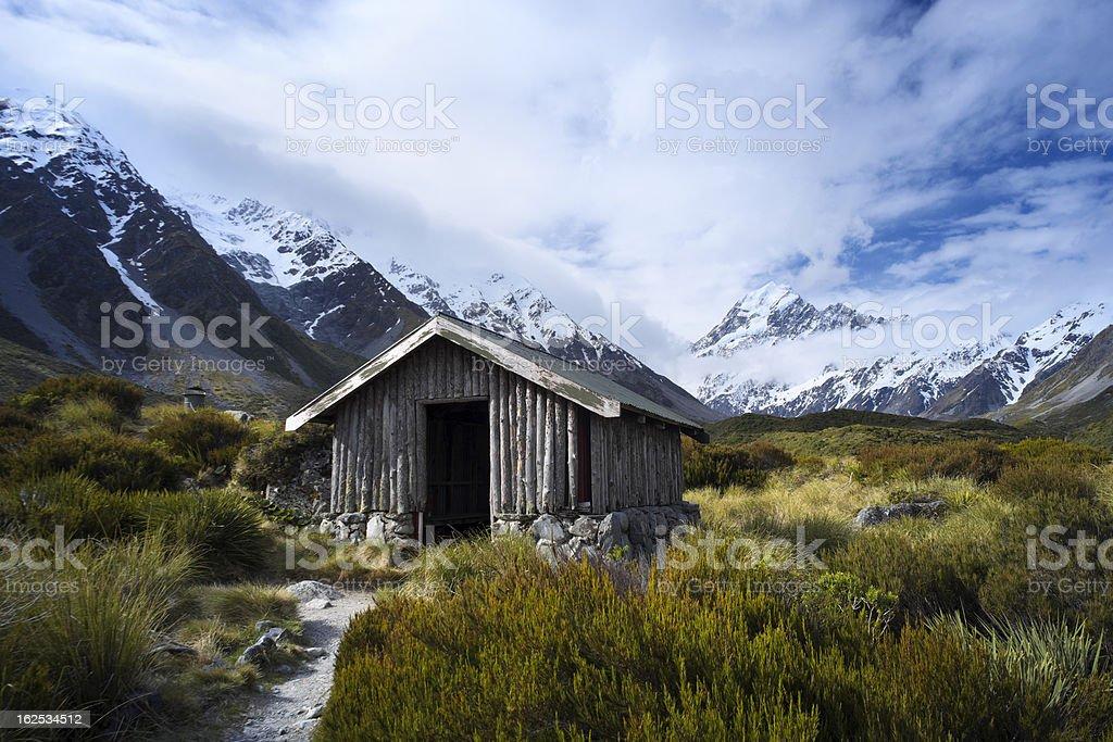 Mt Cook & Hooker Valley Hut stock photo