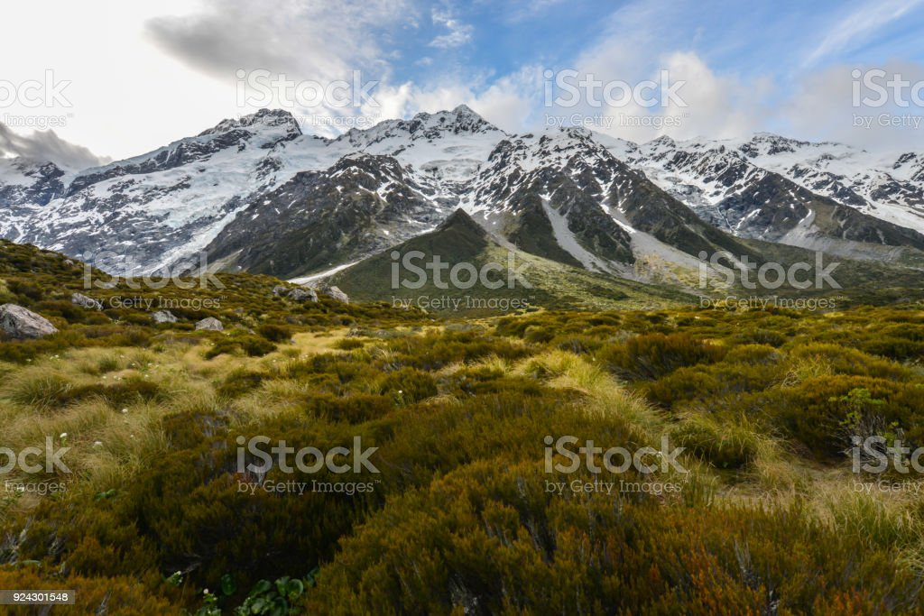 Mt Cook in New Zealand stock photo