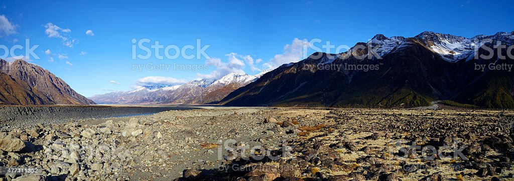 Mt Cook National Park Panorama stock photo