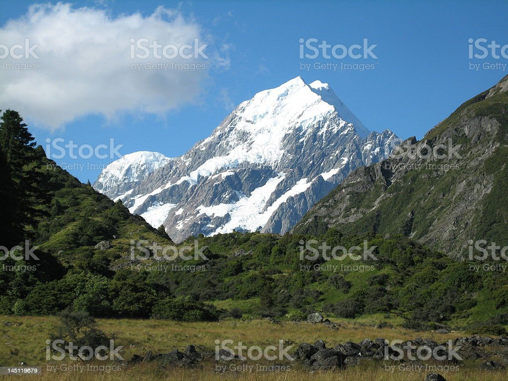 Mt. Cook, New Zealand against blue sky stock photo