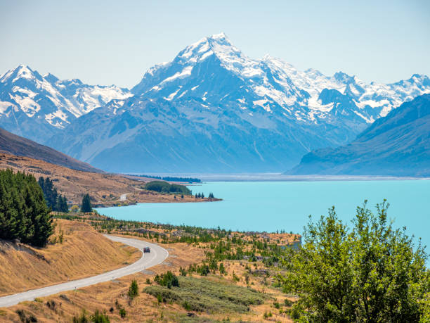 Mt Cook with Lake Pukaki was shot from Peter's Lookout. stock photo