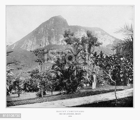 Antique Brazil Photograph: Mt. Corcovado, Rio De Janeiro, Brazil, 1893: Original edition from my own archives. Copyright has expired on this artwork. Digitally restored.